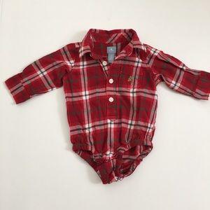Baby Gap red plaid collared bodysuit